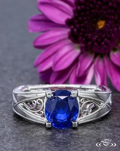 Filigree & Blue Sapphire Platinum Engagement Ring. Green Lake Jewelry