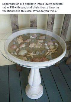 Nautical birdbath table