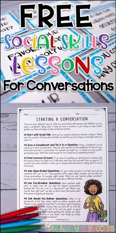 Use these four FREE lessons to teach conversation skills to kids and young adults. Lessons focus on how to start a conversation, using conversation-starters, finding things in common with others, and keeping a conversation going. This resource includes fo Social Skills Lessons, Social Skills For Kids, Social Skills Activities, Teaching Social Skills, Counseling Activities, Social Emotional Learning, Speech Therapy Activities, Coping Skills, School Counseling
