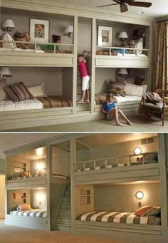 Awesome Bunk Beds Built Into Wall
