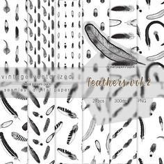 Feathers Digital Paper Vol.2 Feather Clipart Seamless Pattern