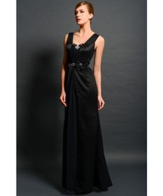 Classic Straps Floor Length Satin Sheath Column Mother Of The Bride Dress