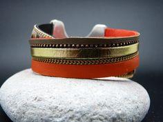 Bracelet Manchette Cuir Strass Leopard Folies : Bracelet par delectaparis