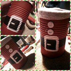 Santa clause tin can decoration