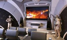We love the idea of a home theater setup with the theme centered around your favorite movie franchise. This Star Wars home theater is truly spectacular! Home Theater Screens, Home Theater Basement, Home Theater Lighting, Home Theater Furniture, At Home Movie Theater, Best Home Theater, Home Theater Speakers, Home Theater Rooms, Home Theater Seating
