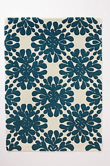 for under dining room table. comes in blue and taupe. 8x10 and 9x12 from anthropologie.