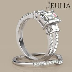 360 View of Three-stone Split Shank Emerald Cut Created White Sapphire Rhodium Plating Sterling Silver Women's Ring