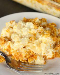 Cheesy Potato Casserole aka Funeral Potatoes - a favorite side dish recipe on { lilluna.com }