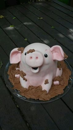 Pig in the Mud Cake cake decorating recipes kuchen kindergeburtstag cakes ideas Crazy Cakes, Fancy Cakes, Pretty Cakes, Cute Cakes, Yummy Cakes, Piggy Cake, Cake Albums, Novelty Cakes, Creative Cakes