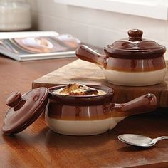 Traditional Lidded French Onion Soup Brown Ceramic Crock Set/2 with Handles Horarary http://www.amazon.com/dp/B00T2WNLR6/ref=cm_sw_r_pi_dp_dwzowb19MD1H4