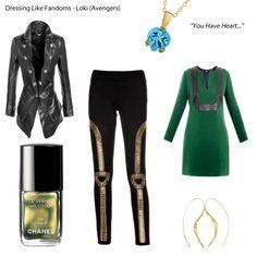 Dressing Like Fandoms - Loki (Avengers) Slim Fit Women's Leather Jacket Mia Tunic Dress - Raoul Shauna Leggings - Jovonna London Gold ...