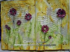 mixed media art journal page by Caroline Duncan ~ www.stampingsandinklings.blogspot.com Donna Downey 48weeks