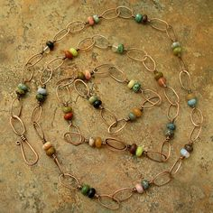 Multi Color Large Link Wire Wrapped Necklace.