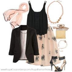 Frugal Fashion Friday Romantic Outfit perfect for Valentine's Day on Frugal Coupon Living. Tones of Blush, Black and Gold featuring and a-line skirt, black blazer, and gold jewelry. Valentines Day Outfit.
