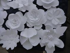 Large White Paper Flowers Rose Wedding Backdrop by PoshStudios