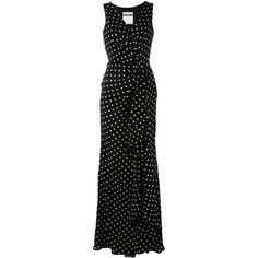 Moschino polka-dot gathered dress (24 055 UAH) via Polyvore featuring dresses, black, silk drape dress, rouched dress, scrunch dress, v-neck dresses и gathered dress