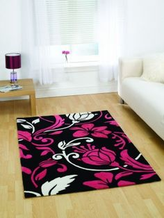 Damask Rugs In Black Pink And Cream
