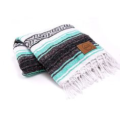 TOMS Mint Mexican Blanket featuring polyvore, home, bed & bath, bedding, blankets, green, handmade blankets, green blanket, green bedding, mexican blanket and music bedding