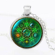 Mandala Glass Wicca Pendant Necklace
