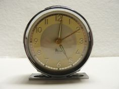 art deco olive green mechanical alarm clock