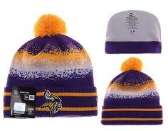 91db7238b Mens   Womens Minnesota Vikings New Era NFL On-Field Team Colors Fashion  Spec Blend Knit Beanie Hat With Pom - Purple   Gold
