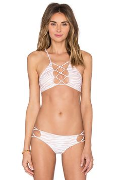 4c6bbe2f5c2912 Shop for Indah Hapa Lace Up Front Top in White Tiger at REVOLVE. Free day  shipping and returns