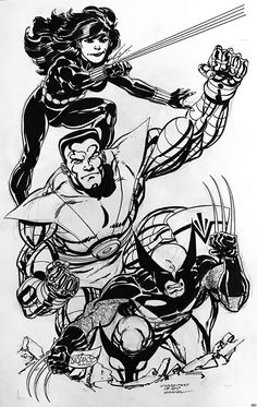 Black Widow, Colossus & Wolverine commission by John Byrne. 2017.