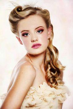 Rockabilly hairstyles blonde hair curly bridal white dress wedding hairstyle