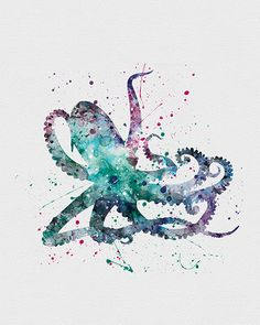 Octopus 1 Watercolor Art
