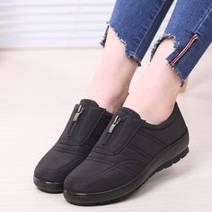 Large Size Waterproof Front Zipper Pure Color Comfortable Flat Shoes