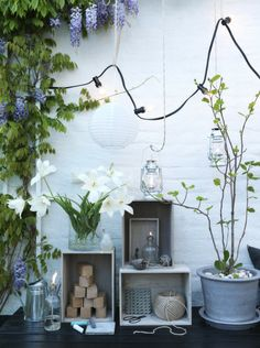 twine, galvanized metal, crates, glass, exaggerated light bulbs, green...