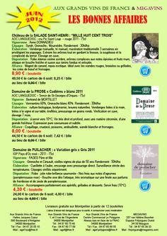 Les BONNES AFFAIRES Aux GRANDS VINS DE FRANCE juin 2012 à partir de 4,30€ - from $4.98