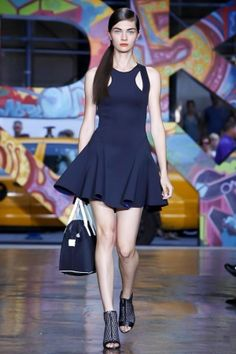 oh, this is an lbd*, not an lbd** as i originally thought (* little blue dress, ** little black dress) #dkny #nyfw #ss14