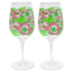 Lilly Pulitzer Wine Glasses Set - Big Flirt