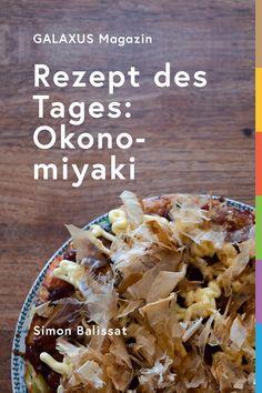 Okonomiyaki ist ein beliebtes, traditionelles Gericht aus Japan. Simon zeigt dir, wie du die japanischen Kohlpfannkuchen im Handumdrehen selber kochst. Soul Food, Food And Drink, Bread, Japan, Breakfast, Recipes, Life, Gourmet, Food For The Soul