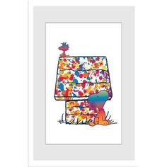 Marmont Hill Rainbow Woodstock and Snoopy Peanuts Framed Art Print, Size: 20 inch x 30 inch, Multicolor