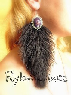 Earrings fluffy Peacock Marabou by RybaColnce on Etsy, $18.00