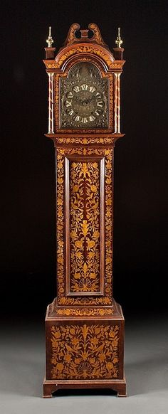 Mid Century Tall Case Dutch Marquetry Reproduction with an Antique French Morbier Movement Wallace Nutting, Embellished Jackets, Swedish Decor, Classic Clocks, Grandfather Clock, Sundial, Antique Clocks, Marquetry, Compass