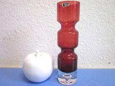 Bo Borgstroem for Aseda Sweden - red vase with bubble 1960s modernist glass vase