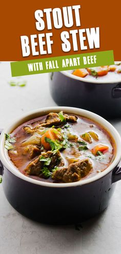 Hearty tender beef is slow-cooked in a stout broth stew filled with cozy ingredients such as onions and carrots. Stout Beef Stew makes a comforting bowl and filling meal. #StoutBeefStew #EasyBeefStew #StovetopBeefStew Beef Stew Stove Top, Easy Beef Stew, Slow Cooker Beef Tenderloin, Best Beef Recipes, Bbq Brisket, Garlic Butter Steak, Ground Beef Casserole, Beef Tips, Brunch Menu