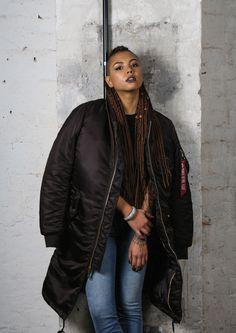 Love the Alpha Industries MA-1 long line coat. #alphaindustries #bomber #jacket #longline #winter #autumn #fashion #womenswear #