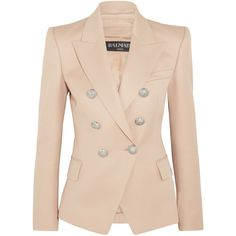 Balmain Double-breasted wool blazer ($1,830) ❤ liked on Polyvore featuring outerwear, jackets, blazers, beige, balmain, beige blazer, wool blazer, shoulder pad jacket and balmain jacket