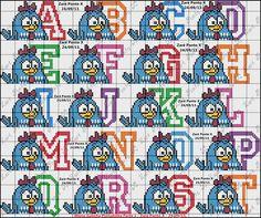 Olá amigas!!!!     Hoje posto pra vcs gráficos da Galinha Pintadinha e tbm o monograma... para vcs bordarem muito!!!! Bjussss              ...