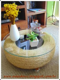 28 Red and White Living Rooms - cute diy home decor ideas - 56 Beautiful Family Room Style Suggestions - Best Present day Living Room Area Decoration -: Let have a look at further, Go to the web site soonRope wrapped tire coffee table w glass top.