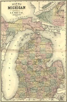 Michigan State 1885 by H. R. Page Historic Map. A wide and growing selection of inexpensive reprints of rare Historic Maps are available from Hearthstone Legacy Publications at: http://www.hearthstonelegacy.com/Historic-Map-Reprints.htm