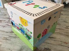 """Ξύλινο κουτί βάπτισης ζωγραφισμένο """"Τραίνο"""" https://www.facebook.com/monadiko.accesories/timeline"""