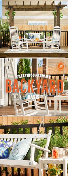 Recreate this charming patio in your own backyard with WeatherShield ground-contact lumber stained a deep warm brown. The classic white porch swing and rocking chairs are irresistibly inviting, while the plant-draped pergola ties everything together. Click to see all the products in this stunning backyard oasis.