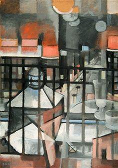 Caféterrasse im KaDeWe (auch: Silberterrasse im KaDeWe) By Jeanne Mammen ,1935