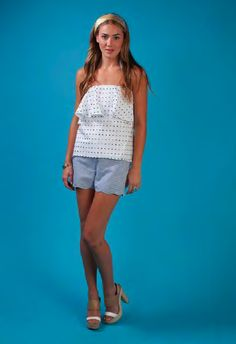Emma Top in Navy Polka Dot and the Peggy Scalloped Shorts in Blue and White Seersucker