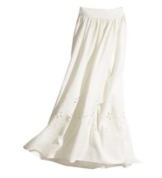Cotton Hollow Embroidery Maxi Skirt @ MayKool.com